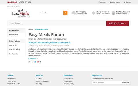 Screenshot of Blog easymeals.net.au - Easy Meals Forum - captured Oct. 20, 2016