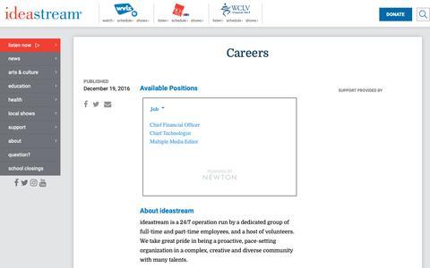 Screenshot of Jobs Page ideastream.org - Careers | 90.3 WCPN ideastream - captured Nov. 20, 2018