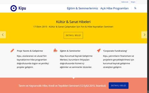 Screenshot of Home Page kipu.com.tr - Kipu - AB Fonları Hibeleri Kırsal Kalkınma Ajansı Örnek Proje - captured Sept. 6, 2015