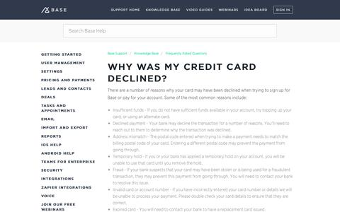 Screenshot of Support Page getbase.com - Why was my credit card declined?  – Base Support - captured Oct. 9, 2018