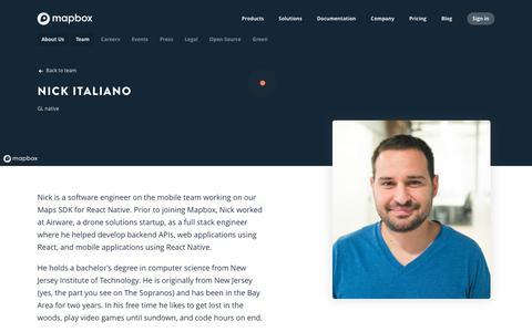 Screenshot of Team Page mapbox.com - Nick Italiano   Mapbox - captured Feb. 19, 2019