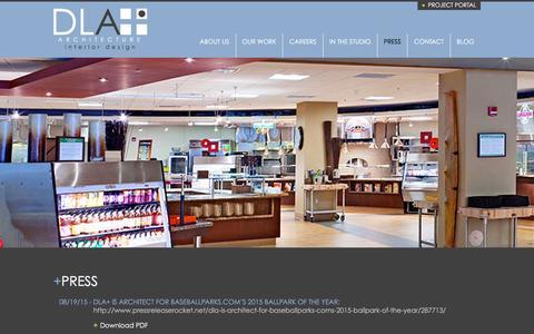 Screenshot of Press Page dlaplus.com - Press | DLA+ Architecture & Interior Design - captured Jan. 20, 2016