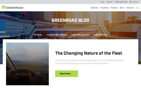 Screenshot of Blog greenroad.com - Smart Mobility Articles | Connected Car News - GreenRoad - captured Sept. 24, 2018