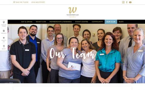 Screenshot of Team Page thewestportclub.com.au - Our Team - The Westport Club - captured Oct. 23, 2018