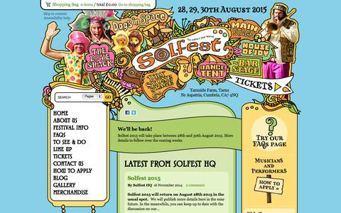 Screenshot of Home Page solfest.org.uk - Solfest Music Festival 2015 UK | Summer Music Festivals in England - captured Jan. 22, 2015