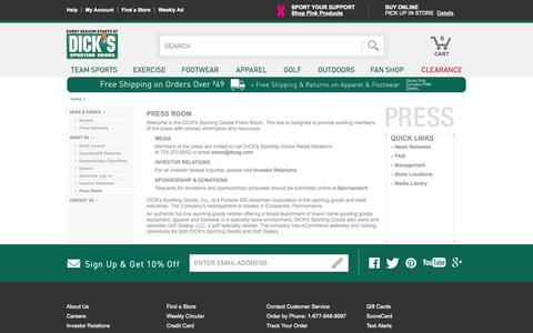 Screenshot of Press Page dickssportinggoods.com - Dick's Sporting Goods – Official Site – Every Season Starts at Dick's - captured Sept. 19, 2014