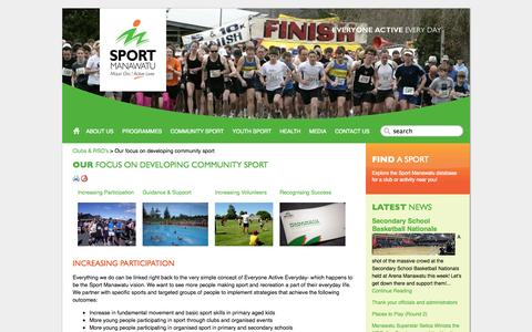 Screenshot of Services Page sportmanawatu.org.nz - Sport Manawatu - Everyone Active Everyday: Content / Clubs & RSO's / Our focus on developing community sport - captured Sept. 30, 2014