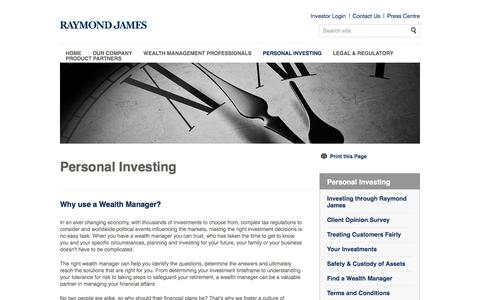 Personal Investing | Private Investment & Wealth Management London | Raymond James Investments Services