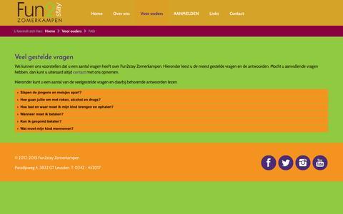 Screenshot of FAQ Page fun2stay.nl - Fun2stay Zomerkampen - FAQ - captured Feb. 10, 2016