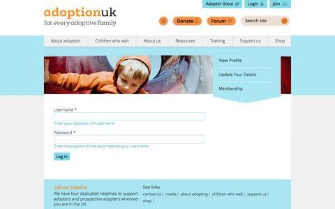Screenshot of Login Page adoptionuk.org - View Profile | Adoption UK - captured May 29, 2017
