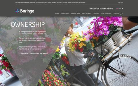 Screenshot of Home Page baringa.com - Home - captured Feb. 10, 2016