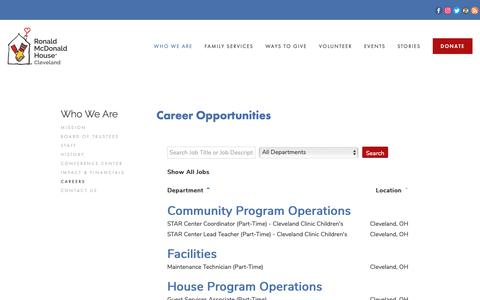 Screenshot of Jobs Page rmhcleveland.org - Careers — Ronald McDonald House Cleveland - captured Oct. 22, 2018