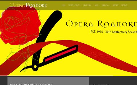 Screenshot of Home Page operaroanoke.org - Opera Roanoke - captured Aug. 12, 2015