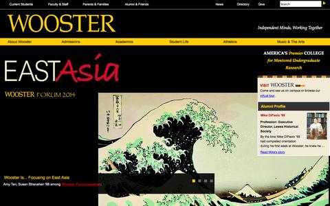Screenshot of Home Page wooster.edu - The College of Wooster | The College of Wooster - captured Sept. 23, 2014