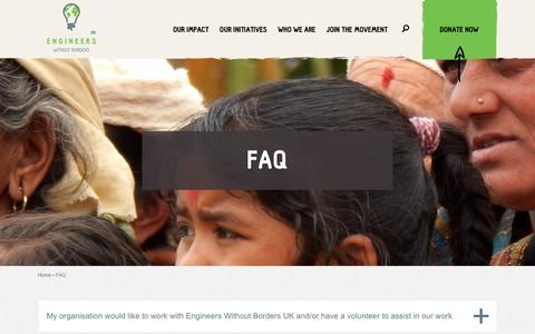 Screenshot of FAQ Page ewb-uk.org - FAQ | Engineers Without Borders - captured Jan. 29, 2016