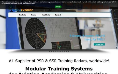 Screenshot of Home Page skyradar.com - Short & Medium Range Radars for Training, Civil Aviation and Perimeter Surveillance - captured Sept. 20, 2018