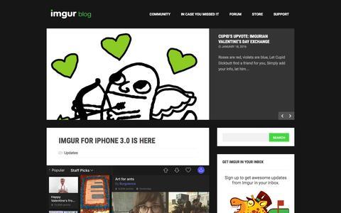 Screenshot of Blog imgur.com - The Imgur Blog - captured Feb. 12, 2016