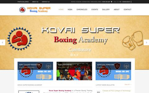 Screenshot of Home Page coimbatoreboxing.in - Welcome | KSBA - captured Oct. 6, 2014
