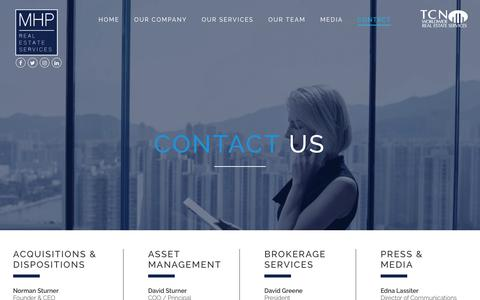 Screenshot of Contact Page mhpnyc.com - Contact Us - MHP Real Estate Services - captured Oct. 1, 2017
