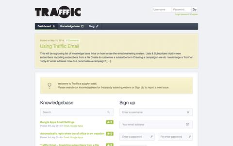 Screenshot of Support Page trafffic.com - Trafffic Support - captured Oct. 9, 2014