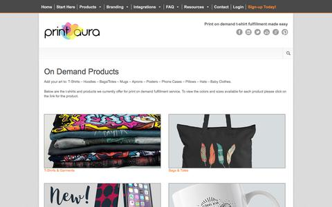 Screenshot of Products Page printaura.com - Print on Demand Product Options | Print Aura - DTG Printing Services - captured July 21, 2018