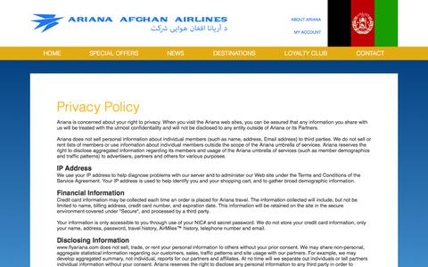 Screenshot of Privacy Page flyariana.com - Privacy Policy - captured Sept. 25, 2014
