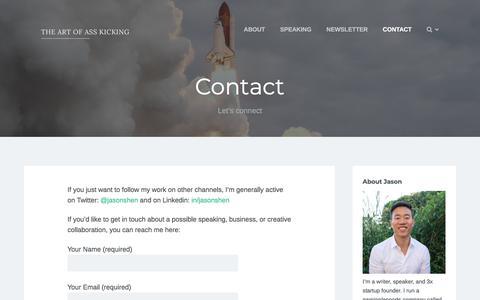Screenshot of Contact Page jasonshen.com - Contact – The Art of Ass-Kicking - captured July 2, 2019