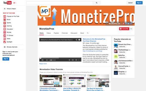 Screenshot of YouTube Page youtube.com - MonetizePros  - YouTube - captured Oct. 26, 2014