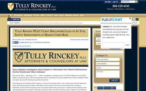 Screenshot of tullylegal.com - Tully Rinckey PLLC Client Disclosures Lead to Jet Fuel Safety Improvements at Marine Corps Base | Tully Rinckey PLLC - captured March 20, 2016