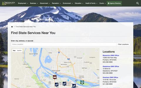 Screenshot of Maps & Directions Page oregon.gov - State of Oregon : Find State Services Near You : State of Oregon - captured Oct. 21, 2017