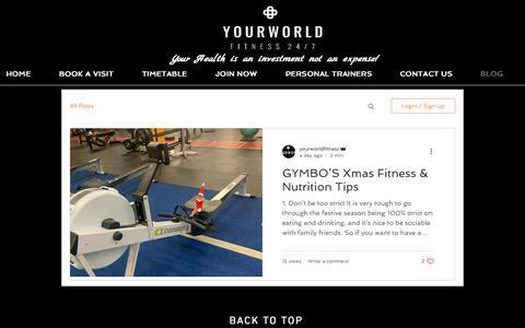 Screenshot of Blog yourworldfitness.com.au - BLOG | yourworldfitness - captured Dec. 10, 2019
