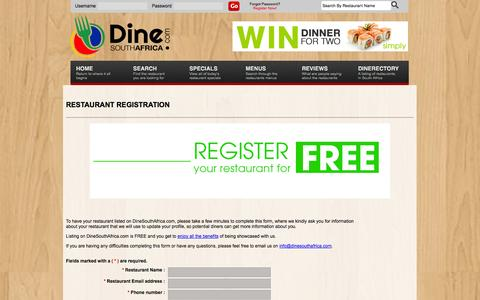 Screenshot of Signup Page dinesouthafrica.com - DineSouthAfrica.com :: South Africa's Premier Online Restaurant Guide - captured Oct. 5, 2014