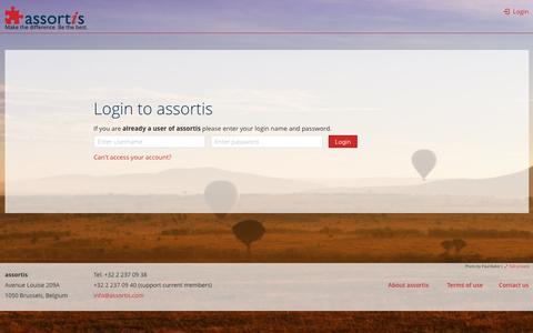Screenshot of Login Page assortis.com captured July 26, 2016
