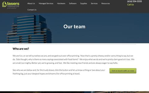 Screenshot of Team Page lasersresource.com - Our Team | Lasers Resource | Grand Rapids MI | Managed Print Services - captured July 16, 2018