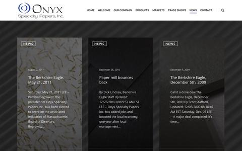 Screenshot of Press Page onyxpapers.com - News - Onyx Papers - captured Oct. 18, 2018