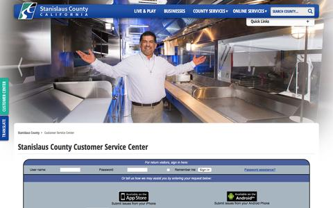 Screenshot of Contact Page stancounty.com - Stanislaus County Customer Service Center - captured Feb. 9, 2016