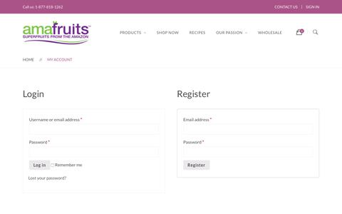 Screenshot of Login Page amafruits.com - My account | Amafruits - captured July 29, 2018