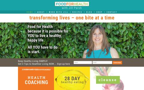 Screenshot of Home Page foodforhealth.net - Health Coaching, Nutrition Counseling - captured Aug. 3, 2015