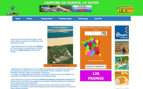 Screenshot of Home Page campingdefrance.com - Camping de France - guide camping - captured June 2, 2016