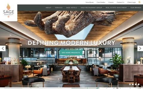 Screenshot of Home Page sagehospitality.com - Sage Hospitality - Management, Investment & Development - captured May 27, 2017