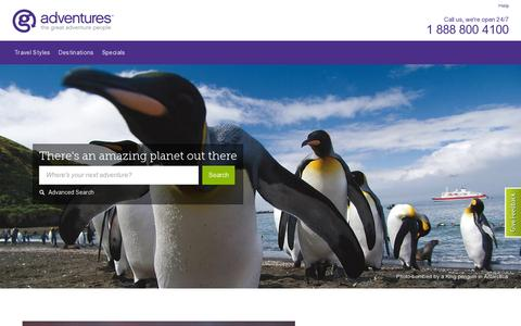 Screenshot of Home Page gadventures.com - Adventure Travel & Tours - Book Your Trip - G Adventures - captured July 11, 2014