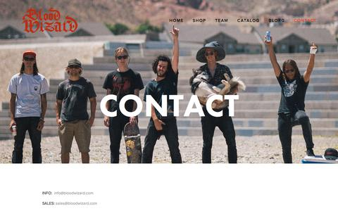 Screenshot of Contact Page bloodwizard.com - Contact — BLOOD WIZARD - captured Oct. 10, 2017