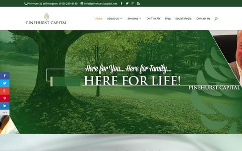 Screenshot of Home Page pinehurstcapital.net - Financial Advisor Pinehurst, NC | Financial Advisor Wilmington, NC | Retirement Pinehurst, Wilmington NC - captured Sept. 19, 2015
