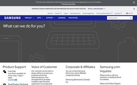 Screenshot of Contact Page samsung.com - Samsung Canada | Contact Us - captured Dec. 5, 2016
