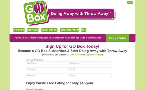 Screenshot of Signup Page goboxpdx.com - Sign Up » GO Box PDX - captured Sept. 24, 2014