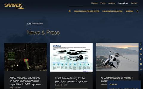 Screenshot of Press Page savback.se - News & Press | Savback Helicopters - captured Oct. 6, 2017