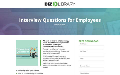 Screenshot of Landing Page bizlibrary.com - Top 10 Interview Questions for Employees [Infographic] - captured July 25, 2017