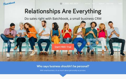 Screenshot of Home Page batchbook.com - Batchbook | Social CRM - captured June 4, 2018