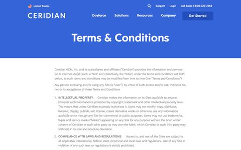 Screenshot of Terms Page ceridian.com - Ceridian Website Usage Terms Conditions - captured Jan. 2, 2020