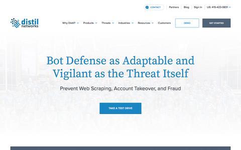 Screenshot of Home Page distilnetworks.com - Bot Mitigation & API Security | Distil Networks - captured Jan. 12, 2018
